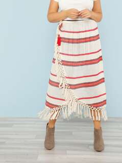 Plus Stripe Overlap Skirt with Fringe Tassel Trim RED WHITE