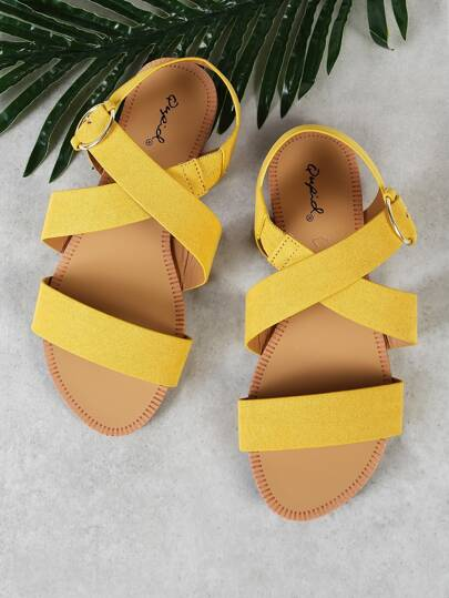 Faux Suede Criss Cross Strap Buckle Open Toe Sandal YELLOW