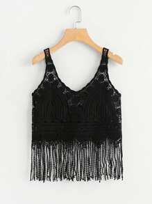 Fringe Hem Crochet Cami Top