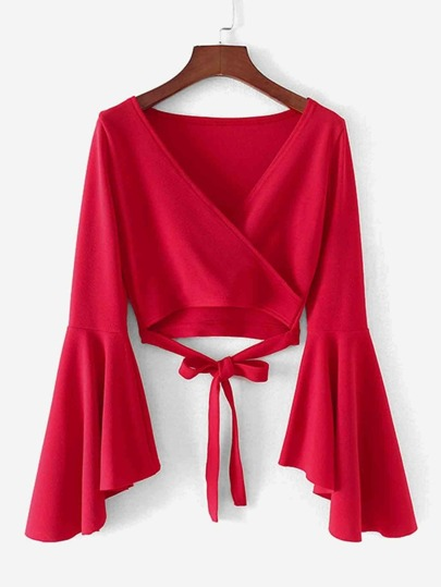 Bell Sleeve Knotted Hem Surplice Blouse
