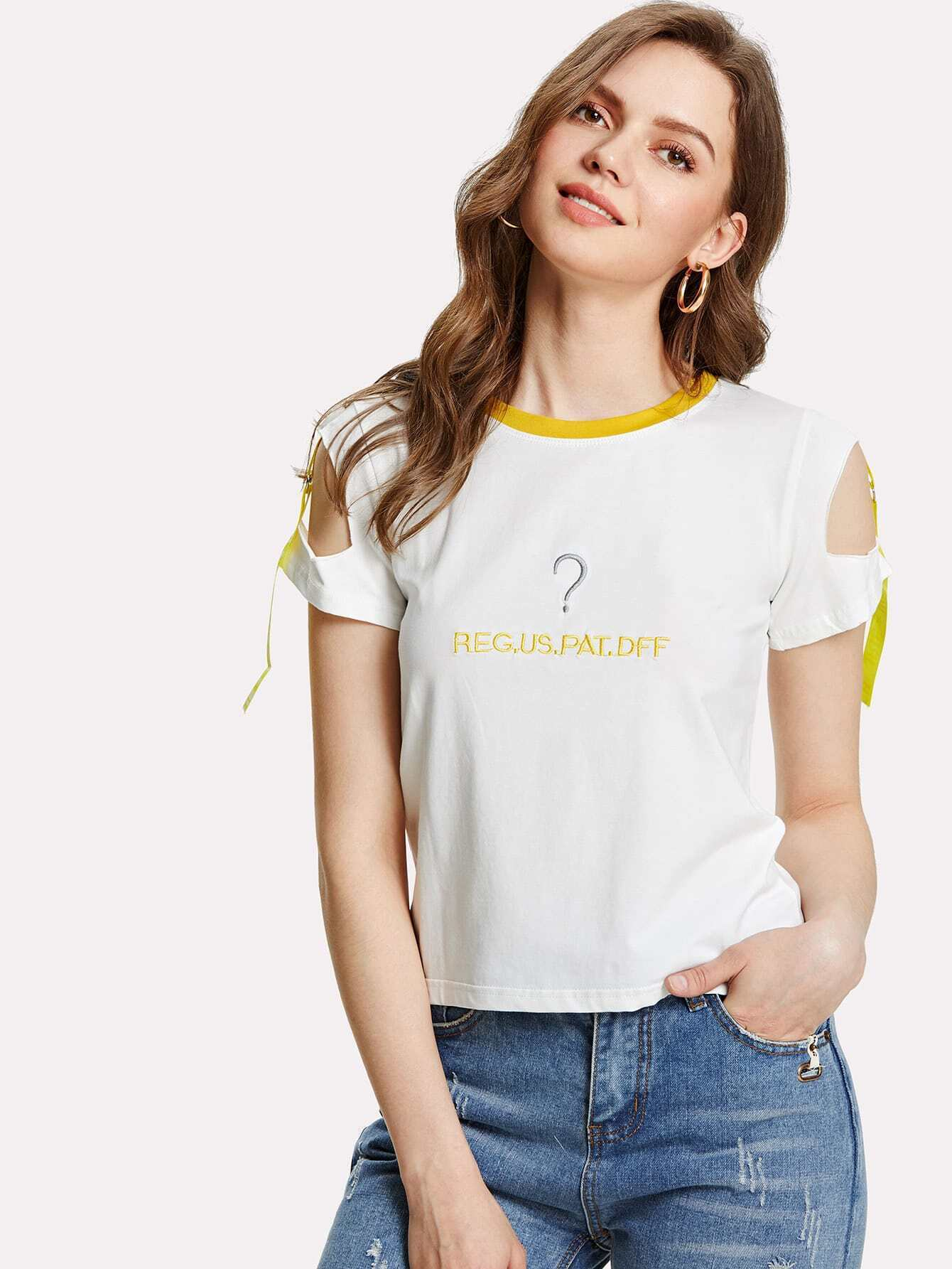 Letter Embroidered Open Shoulder Tee letter fish embroidered tee