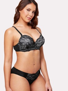 Lace Overlay Lingerie Set