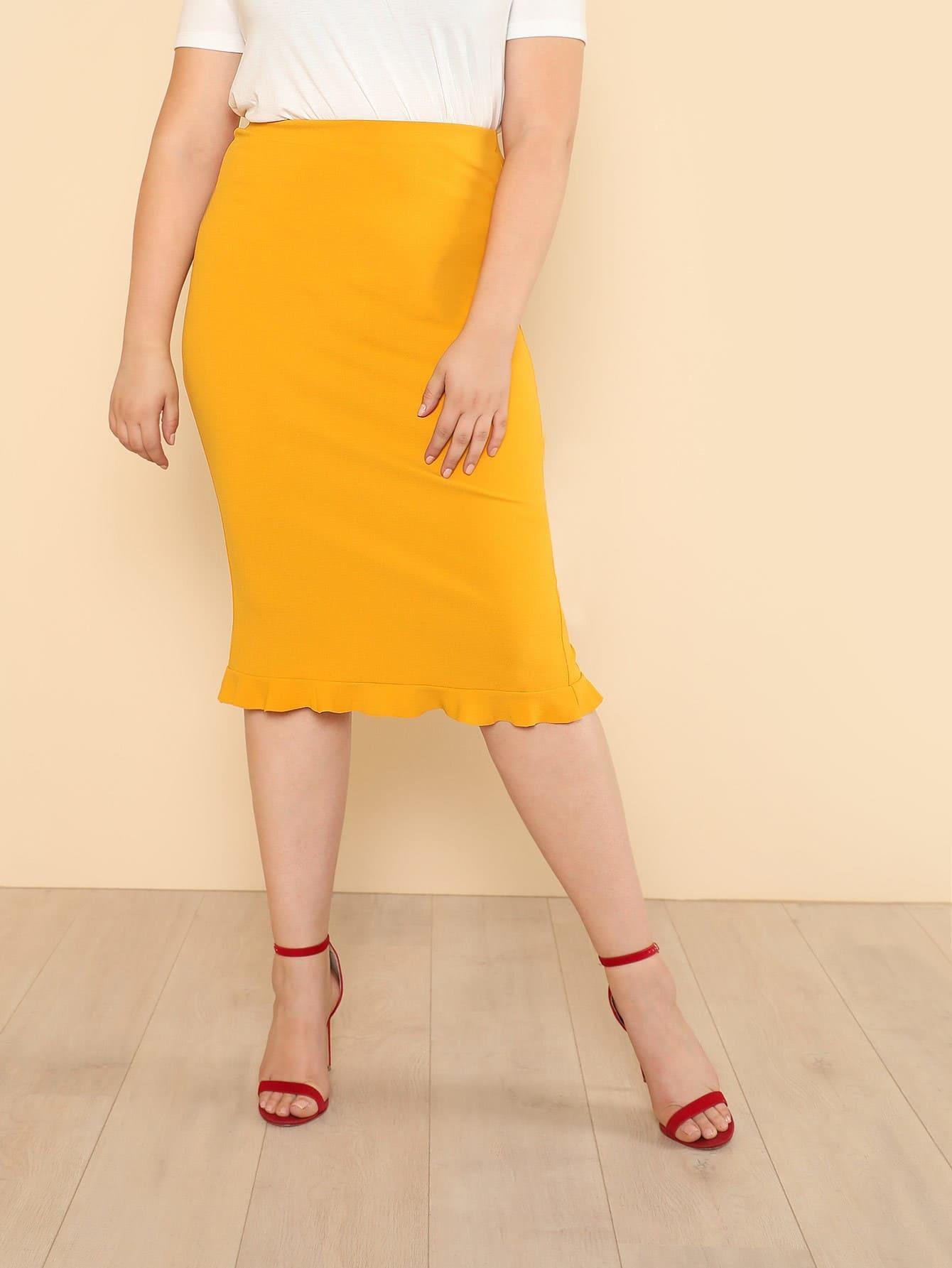 Купить Модная юбка-карандаш с оборкой, Bailey Carr, SheIn