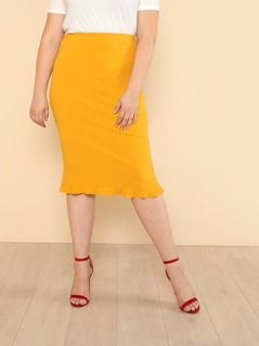 Plus Ruffle Hem Pencil Skirt