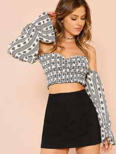 Long Sleeve Boho Print Off Shoulder Smocked Crop Top BLACK WHITE