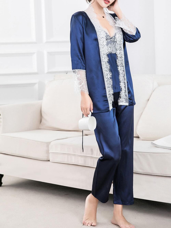 Contrast Lace Trim Cami Pajama Set With Robe eyelash lace trim cami pajama set