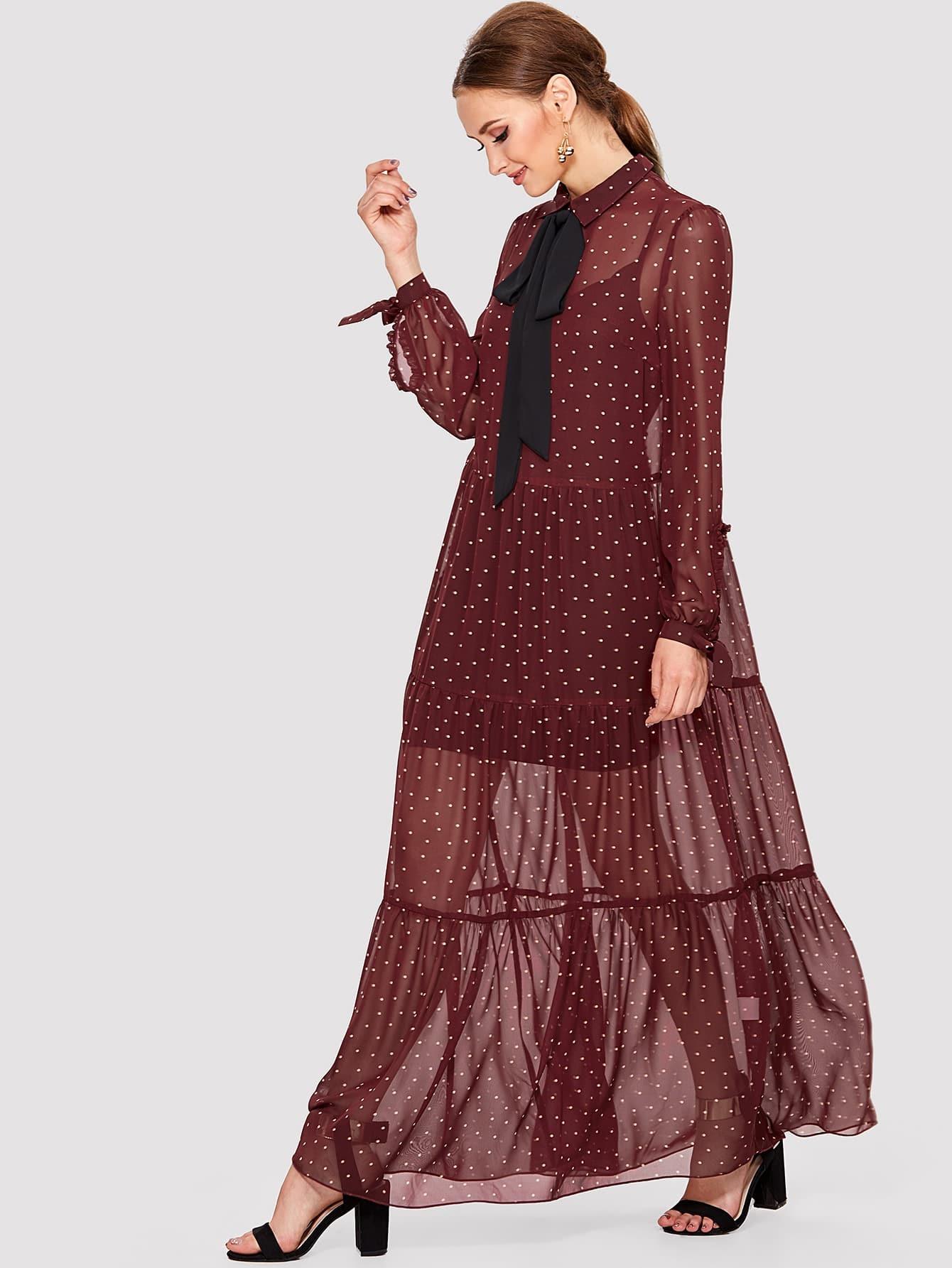 Contrast Tie Neck Knot Cuff Ruffle Trim Dress tie cuff drop waist dress