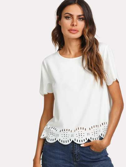 Laser Cut Scallop Trim Top
