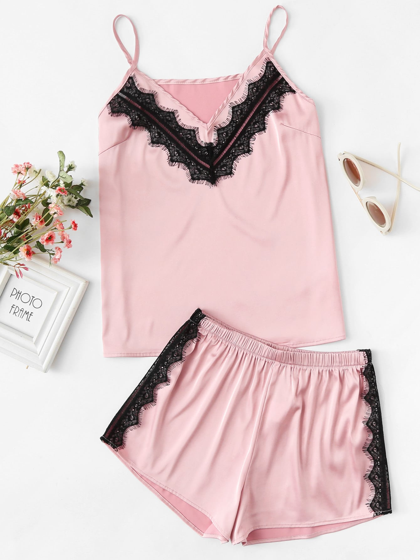 Lace Applique Satin Cami & Shorts PJ Set lace panel cami backless pj set