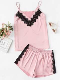 Lace Applique Satin Cami & Shorts PJ Set