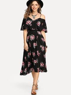 c81c4306dc Flounce Cold Shoulder Floral Dress | MakeMeChic.COM