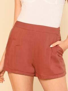 Fold Pleat Wide Leg Shorts