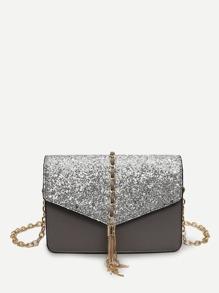 Tassel Decor Glitter Chain Bag
