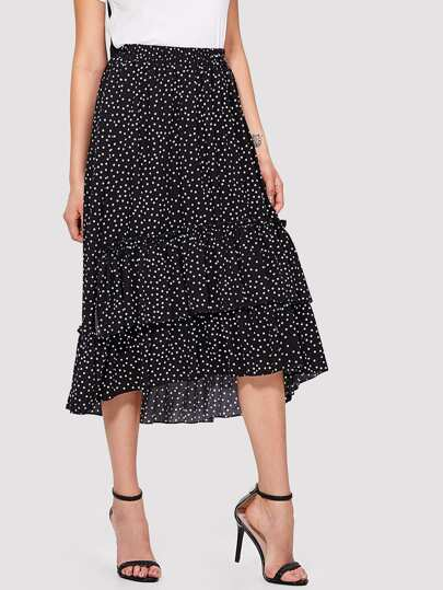 Polka Dot High Low Ruffle Skirt