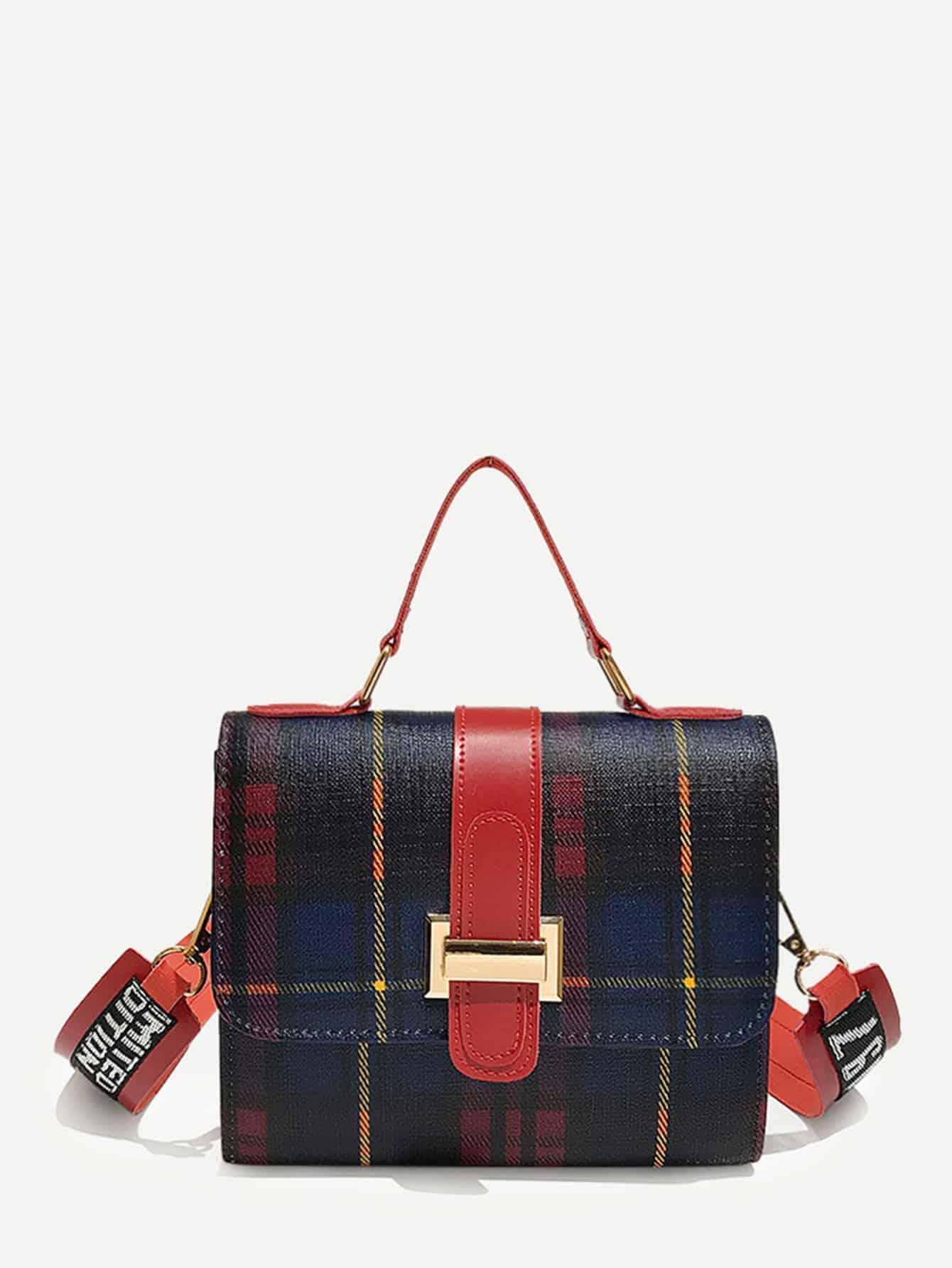 Buckle Detail Plaid Shoulder Bag