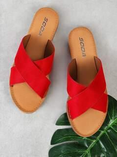 Faux Suede Criss Cross Strap Slide Sandal RED