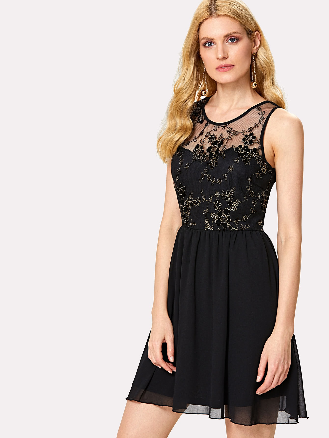 Купить Модное сетчатое платье с цветочной вышивкой, Mirjana, SheIn