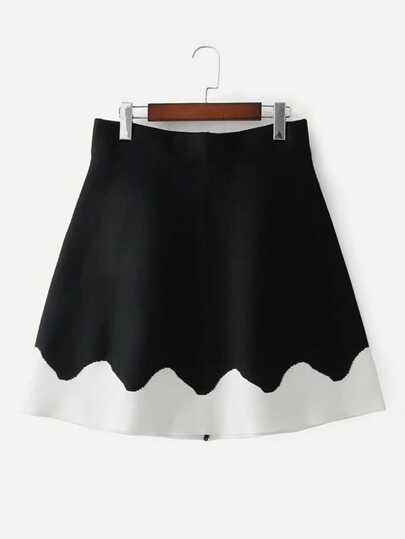 Contrast Panel Knit Skirt