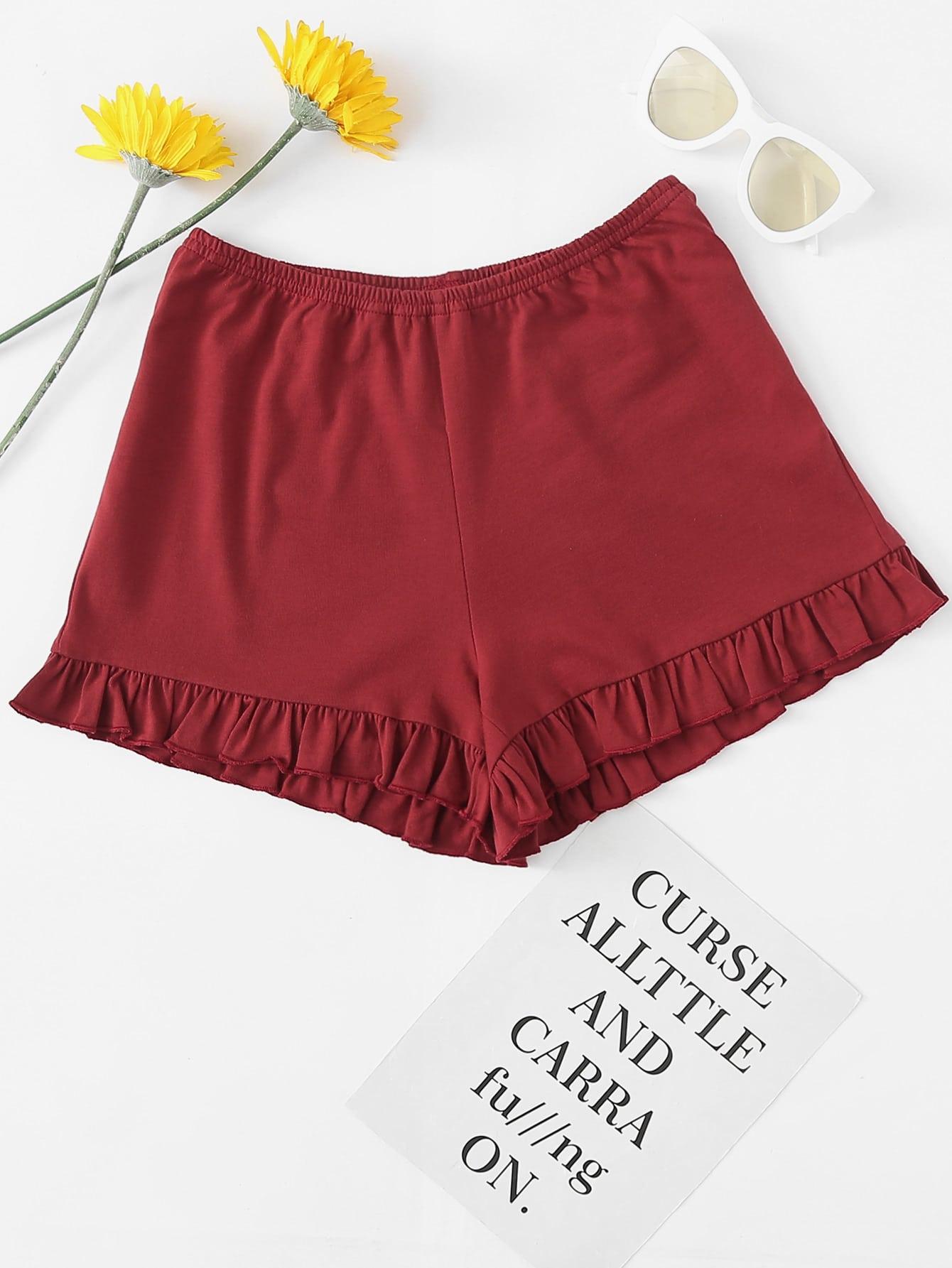 Ruffle Hem Elastic Waist Shorts