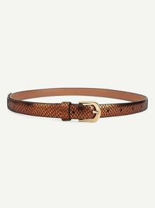 Metal Buckle Skinny PU Belt