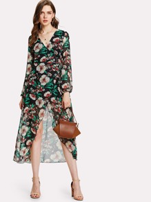 Flower Print Surplice Wrap Chiffon Dress