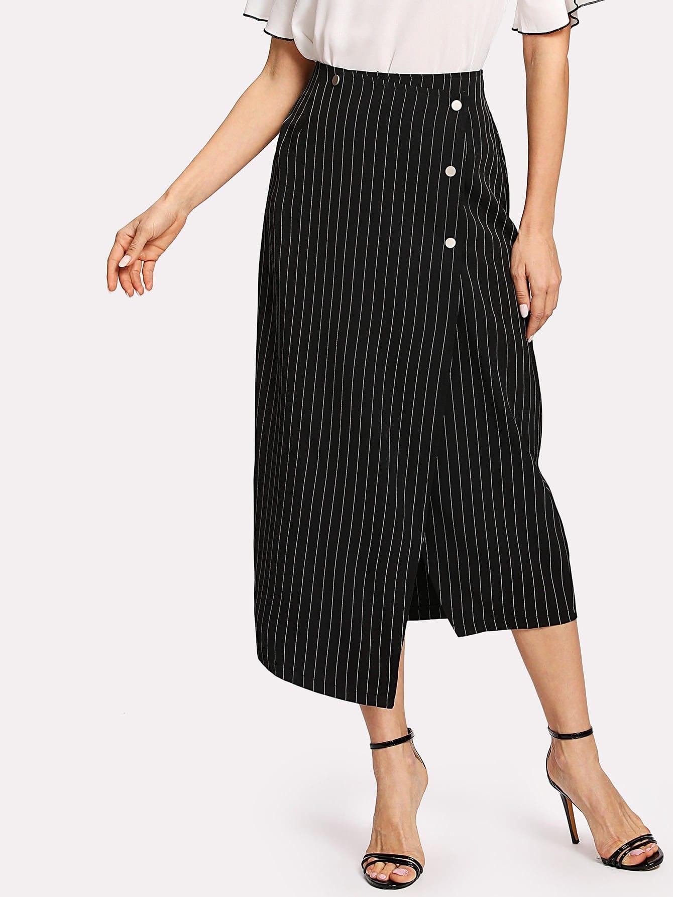Breasted Side Asymmetrical Hem Striped Skirt uneven hem striped midi skirt