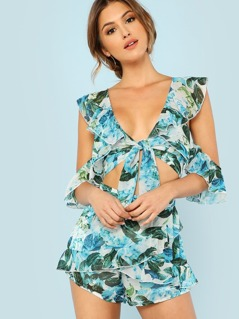Cold Shoulder Front Tie Leaf Print Crop Top with Ruffle Overlay and Matching Shorts BLUE