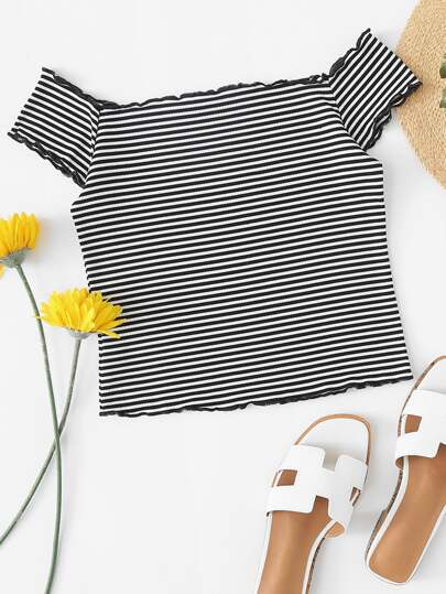 Off Shoulder Lettuce Trim Striped Crop Tee