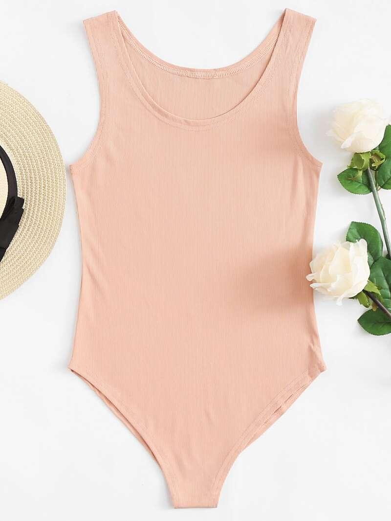 Scoop Neck Ribbed Skinny Bodysuit, Pink