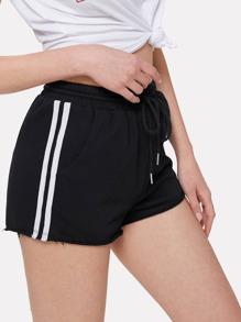 Striped Side Raw Hem Sweat Shorts