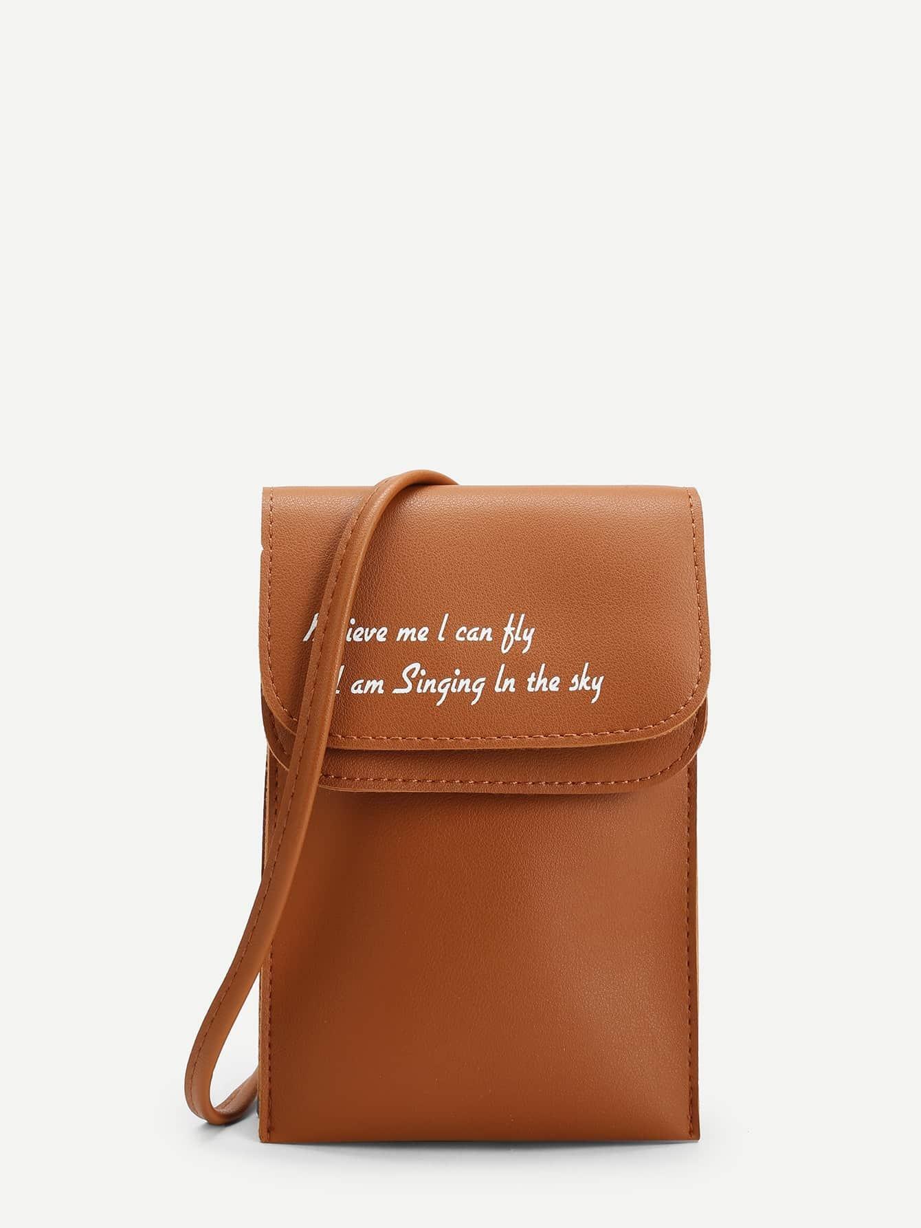 Letter Print Flap PU Shoulder Bag pu leather letter print magnetic closure shoulder bag