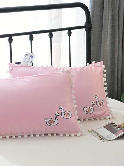 Pom Pom Trim Embroidered Pillow 1pc
