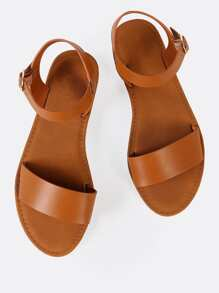 Sling Back Ankle Strap Single Band Flat Sandal TAN