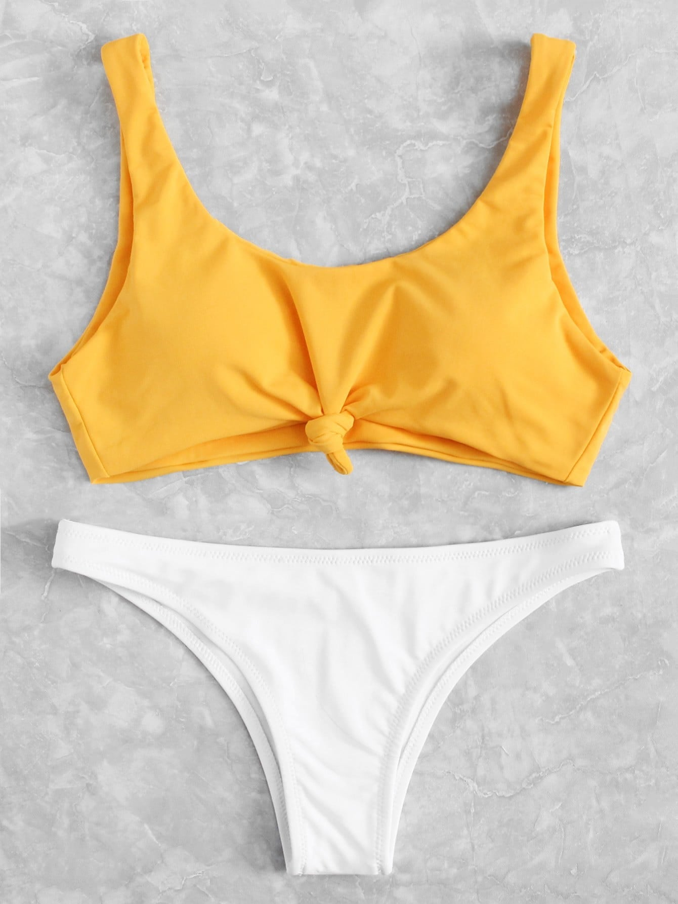 Two Tone Knot Front Bikini Set two tone drop shoulder sweatshirt