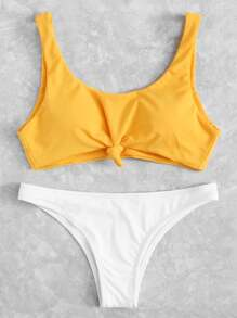 Two Tone Knot Front Bikini Set