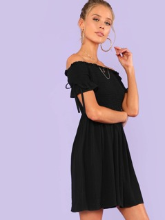 Bow Tied Detail Frilled Smock Dress