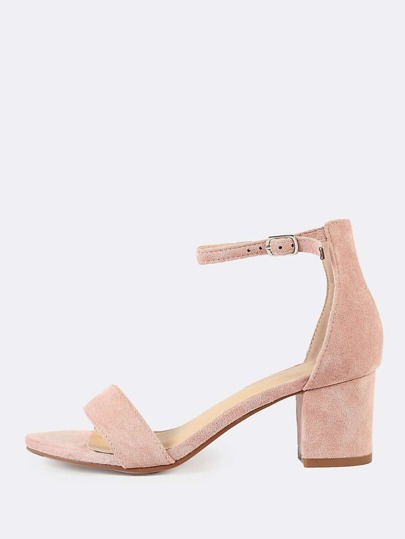 Faux Suede Single Band Chunky Low Heel DUSTY ROSE
