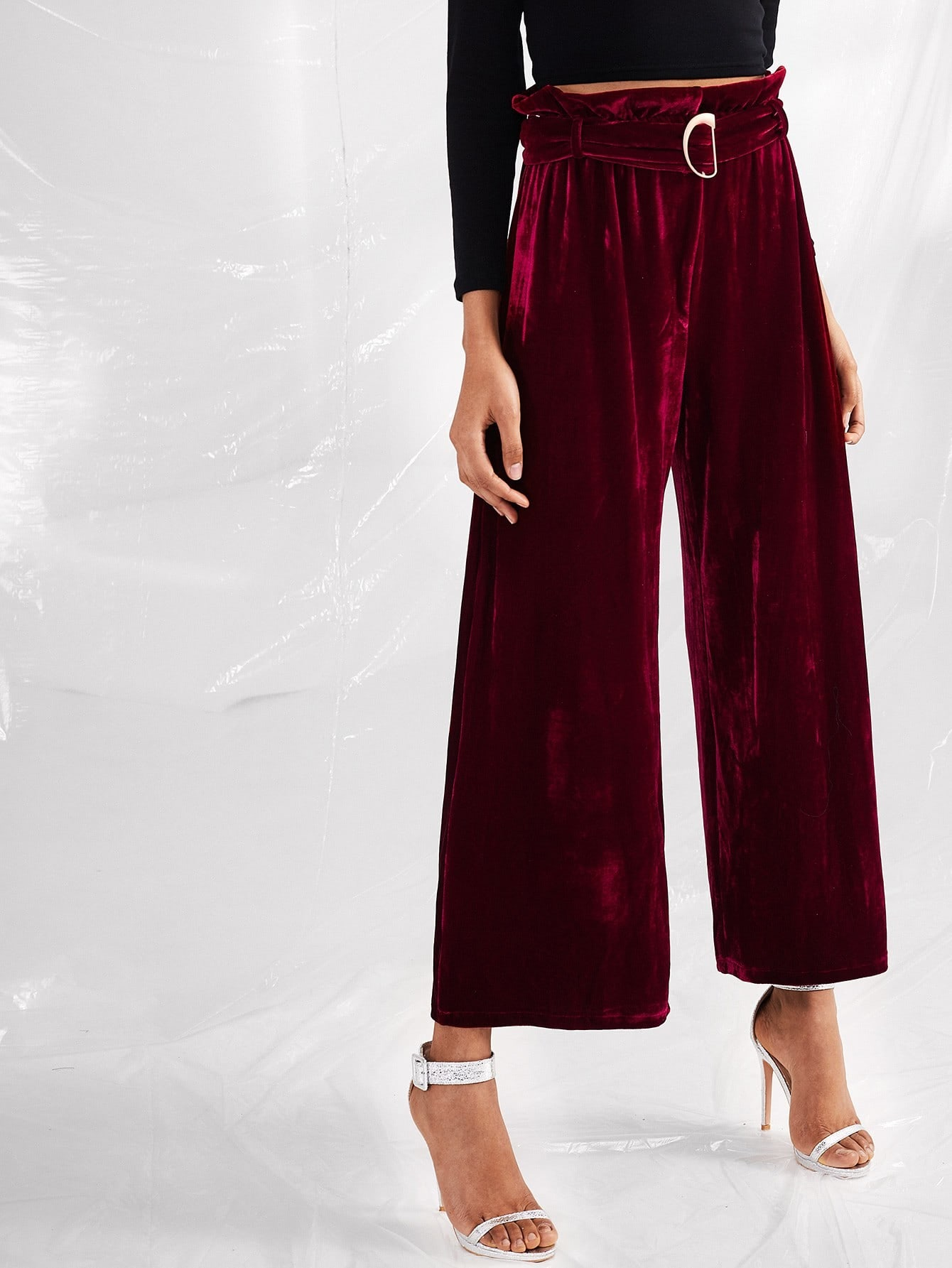Velvet Self Tie Waist Wide Leg Pants bow tie side wide leg pants