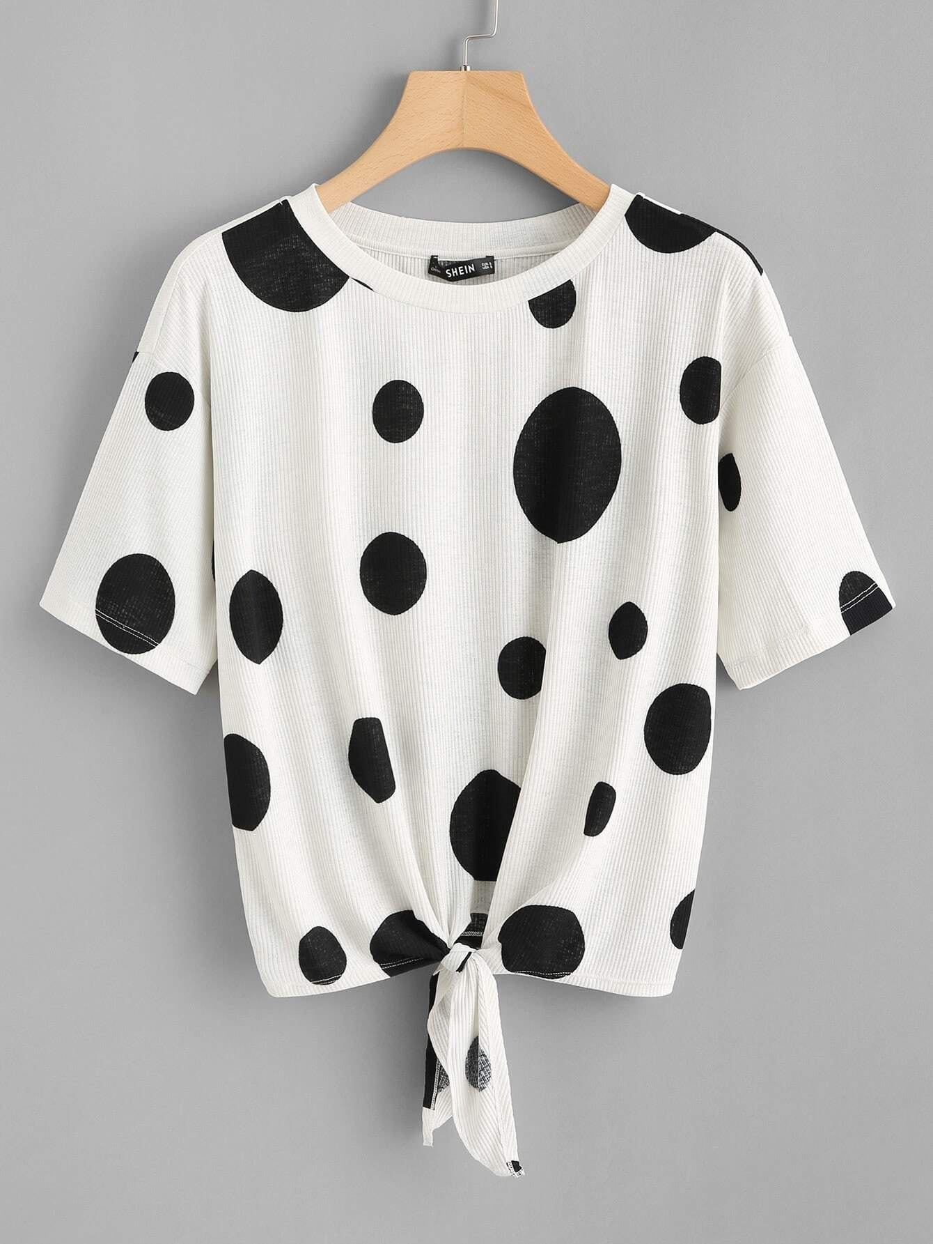 Knot Front Polka Dot Tee knot front tee
