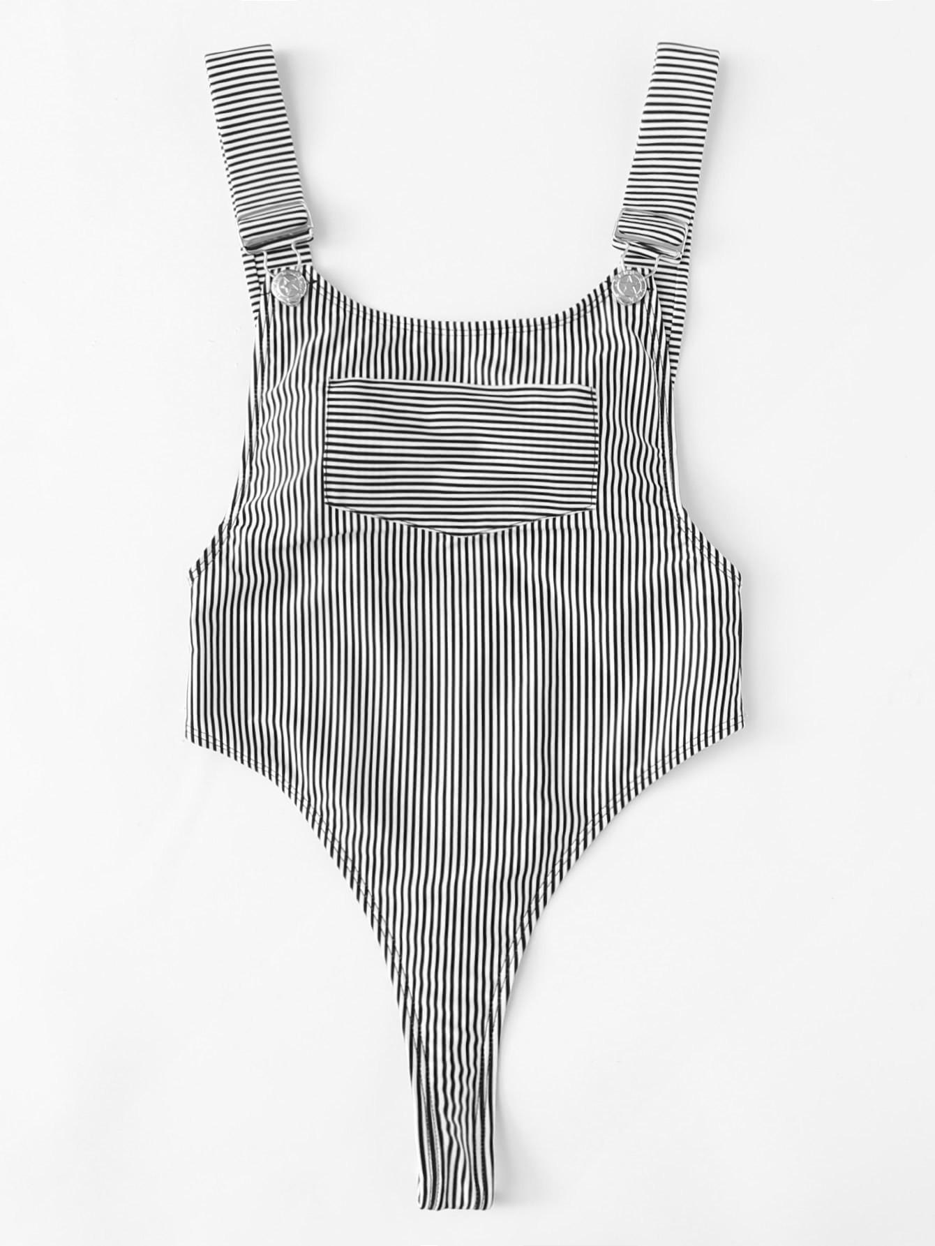 High Leg Striped Swimsuit
