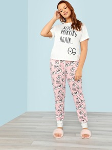 Cartoon Eye Print Tee And Pants Pajama Set