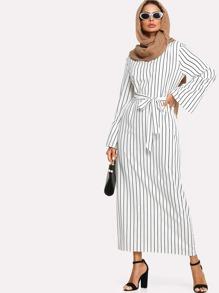 Pinstripe Tie Waist Longline Dress