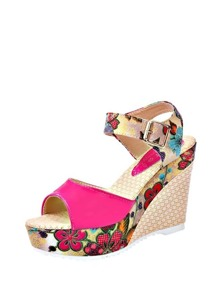 Buckle Decor Peep Toe Wedge Sandals