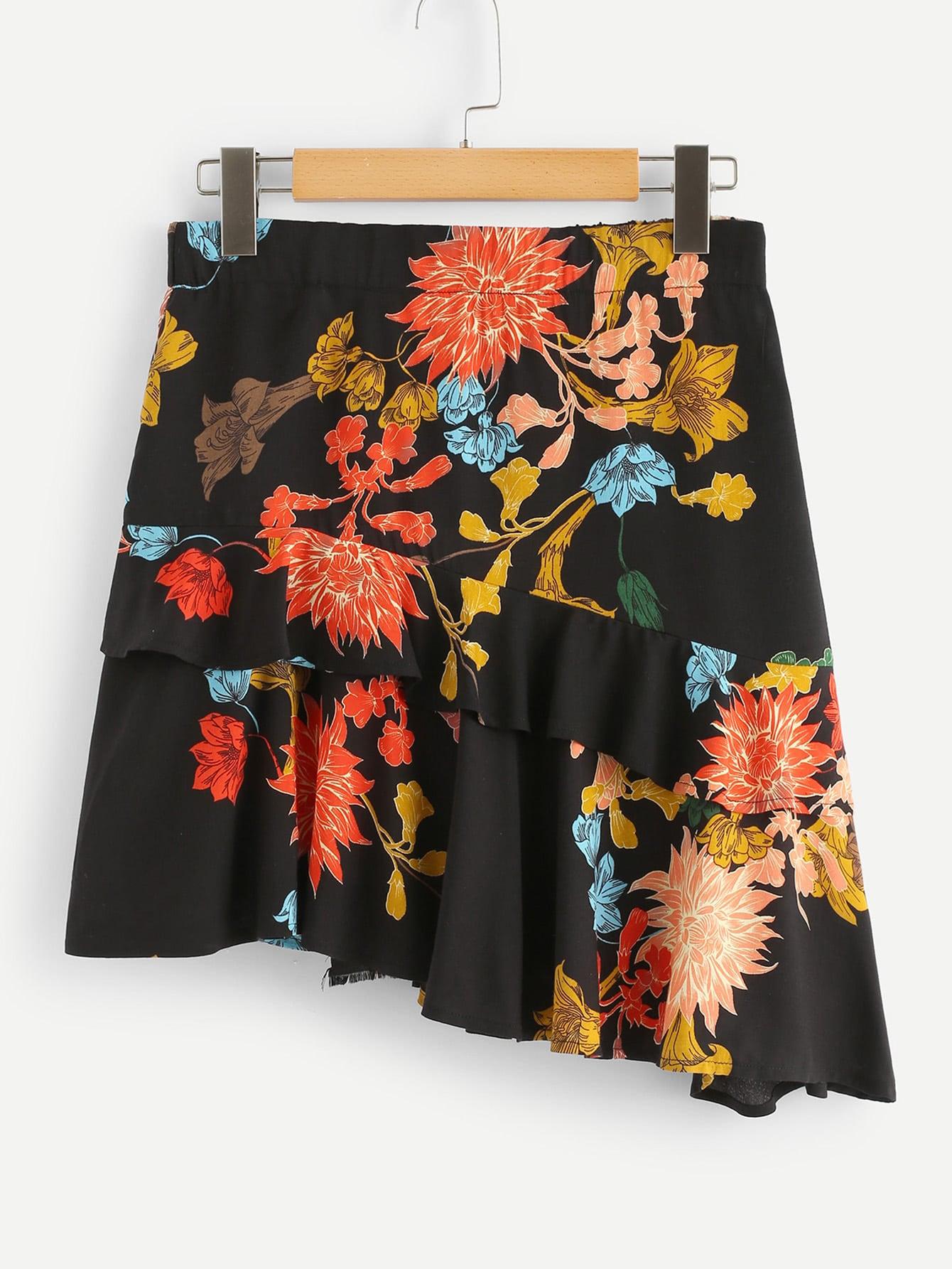 Купить Ассиметричная юбка с принтом цветы, null, SheIn