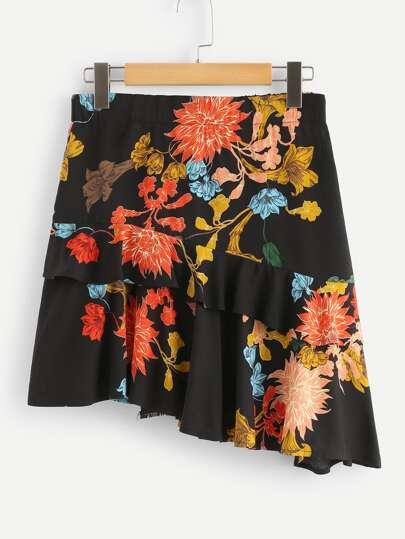 Ruffle Trim Asymmetric Floral Skirt