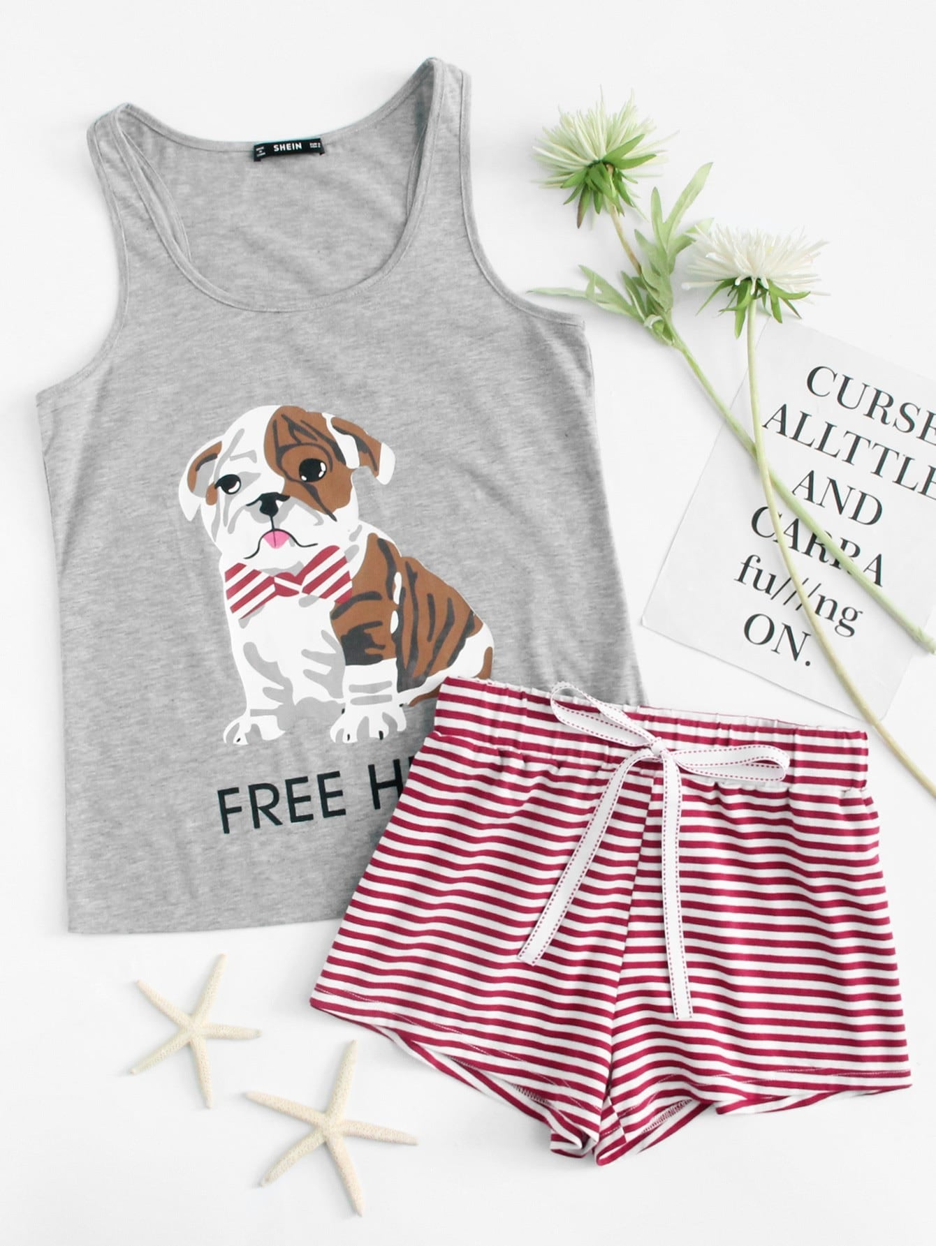 Dog Print Tee And Striped Shorts PJ Set heart print tee and striped shorts pajama set