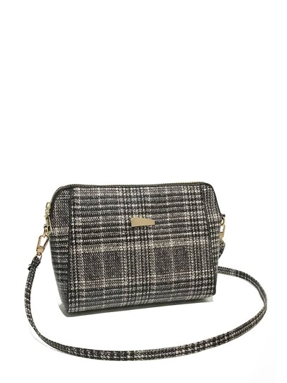 Metal Detail Tweed Crossbody Bag