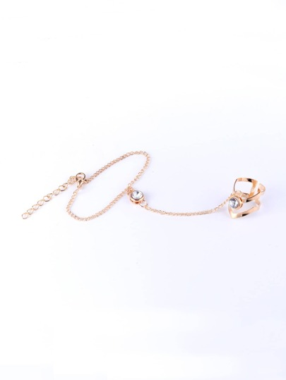 Rhinestone Toe Ring Chain Bracelet