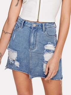 Ripped Front Asymmetrical Raw Hem Skirt