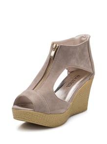 Zip Front Peep Toe Wedge Sandals